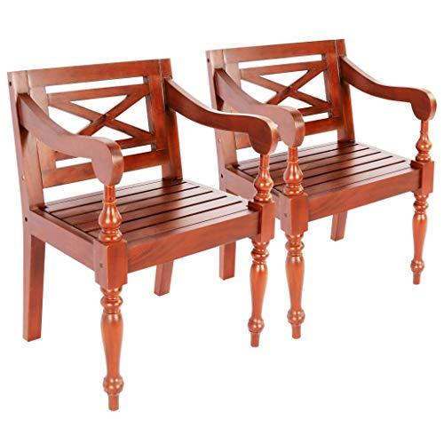 Festnight Chaise Batavia Chaise d'Extérieur Bois d'Acajou 58x50x82 cm pour Jardin ou Patio Marron foncé 2 pcs