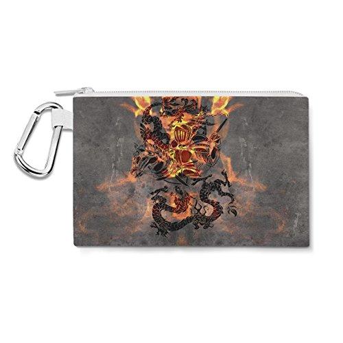 Dragon Knight Canvas Zip Pouch - XL Canvas Pouch 12x9 inch Federmäppchen Knight Zip