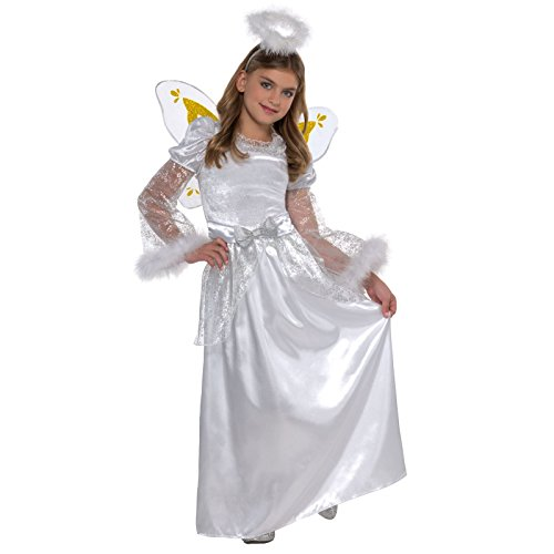 Krippe Engel Kostüm Weihnachten Mädchen Kind XMAS Fancy Kleid Party Weiß Kleid Outfit Halo Flügel Kleid Kids Kinder Silver Sparkle Fairy Winter Snow (Angel Halo Kostüm Zubehör)