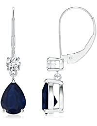 Pear Sapphire Leverback Drop Earrings with Diamond in 14K White Gold (8x6mm Blue Sapphire)