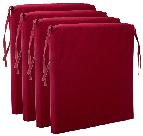 Brandsseller Sitzkissen Stuhlkissen Sitzauflage Stuhlauflage - Uni Farben mit 4 Kordelbändern für sicheren Halt (4er-Vorteilspaket, Rot)