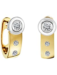 Diamond Line Damen-Diamant-Creolen 585 Gelbgold teilrhodiniert 6 Diamanten ca. 0,15ct. getöntes weiß Lupenrein (gW-LR)