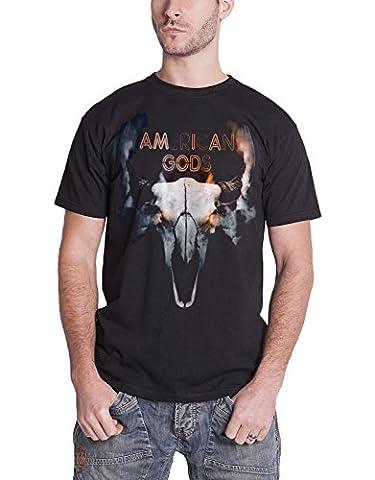 American Gods T Shirt TV show Buffalo Skull Smoke Logo Official Mens Black M