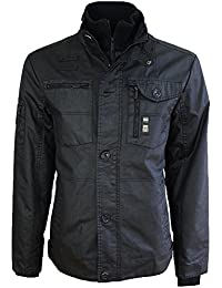 Mens Jacket Crosshatch Coat Padded Full Zip Double Layer Button Winter Warm New