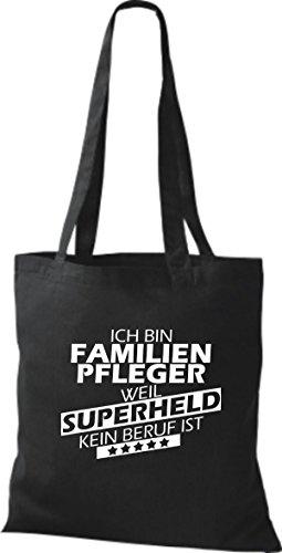 Shirtstown Stoffbeutel Ich bin Familien Pfleger, weil Superheld kein Beruf ist schwarz