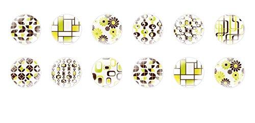 12pcs x 12mm Handgefertigt Runde Kuppel Tschechische Glas-Cabochons Glasmalerei Muster S7T405 (Glasmalerei Für Muster)