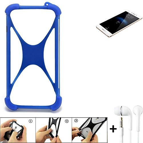 K-S-Trade Bumper für Oppo R7s Schutzhülle Handyhülle Silikon Schutz Hülle Cover Case Silikoncase Silikonbumper TPU Softcase Smartphone, Blau (1x), Headphones