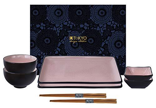 TOKYO design studio, Glassy Pink, Set de 2 Assiettes + 2 Bols à Sauce + 2 Bols à Riz + 2 Baguettes, 8 pcs, en faïence