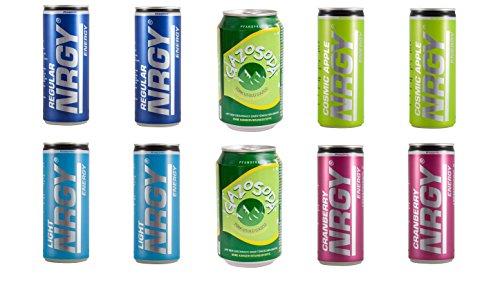 Energy Drink NRGY & GAZOSODA 10er Probierset in 5 Geschmacksrichtungen (Dose Kostüme Cola)