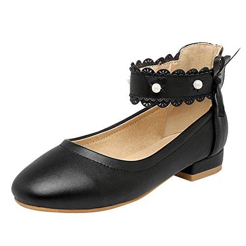 Mee Shoes Damen ankle strap Borte Klettband Pumps Schwarz