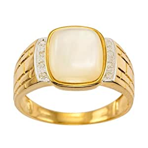 Kareco 9ct Yellow Gold Gents' Diamond and Pearl Ring - Size T