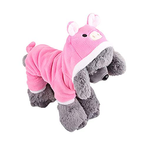 RUNFON 1Set Pet Coat Kostüm Cute Hund Pyjama Kleidung Coral Fleece Pet Outfit Dog Supplies Herbst und Winter Welpe Hoodie Größe L (Pig)