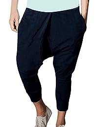 Allegra K Hommes Biais Poches Taille Élastique En Vrac Pantalon Sarouel Gris W28/30