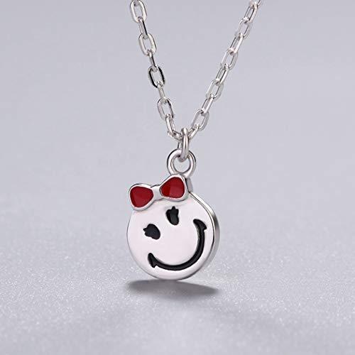 WUFANGFF Sterling Silber Halskette Damen Schmuck Minimalistische Mode Smile Geometrische Modellierung 1226 Crystal