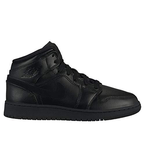 e65e12d5b3921 Nike Air Jordan 1 Mid (GS), Chaussures de Basketball garçon, Noir Black  090, 40 EU