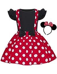 Jurebecia Vestido de Lunares + Mini Mouse Ears Diadema para niñas Princesa Bowknot Tutu Fiesta de cumpleaños Trajes 1-7 años