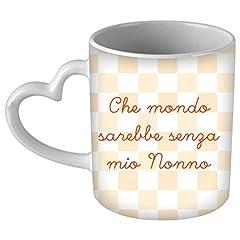 Idea Regalo - My Custom Style Tazza CUORE manico bianco#Festa nonni-Mio Nonno#325ml