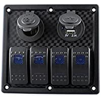 Interruttore Pannello, lanowo LED 4 Gang Heavy Duty Impermeabile anti-flame Marine interruttore pannello auto controllo Rocker Switch Panel Interruttore Automatico con presa di alimentazione e USB