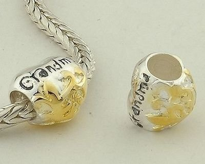 """General Gifts 925 Sterling Silver With 14K Gold European Style Vermeil """"Grandma"""" Charms/Beads For Pandora, Biagi, Chamilia, Troll And More Bracelets"""