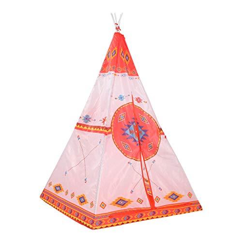 Longra Spielzeug Tipi Zelt Spielzelt Kinderzimmer Faltbare Spielzelt Set mit Tragetasche Indoor / Outdoor Indianerzelt mit Fenster Baumwolle