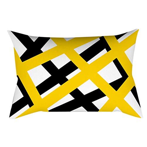 Xmiral Kissenhüllen Gelb Geometrische Patchwork Quadratischer Zierkissenbezüge 30cmx50cm mit Versteckter Reißverschluss(T)
