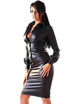 Falda de tubo de cuero sintético mujer - negro - todas las tallas