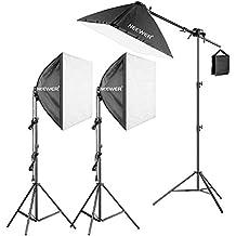 Neewer 600W Pro Fotografía SoftBox Iluminación Kit– 3 Packs 60X60cm SoftBox con 45W Bombilla Fluorescente para Estudio Fotográfico Retratos, De Producto y Grabación de Vídeo