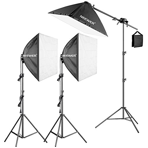 Neewer 600W Pro Fotografía SoftBox Iluminación Kit– 3 Packs 60X60cm