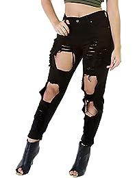 MISSMAO Damen Jeanshose Skinny Hose Zerrissen am Knie High Waist Jeanshose  Hochbund Löcher… 61e001e40c