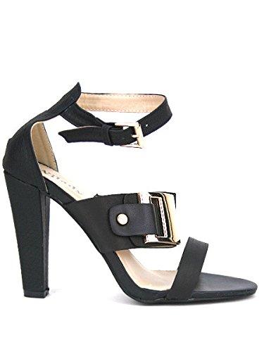 Cendriyon, Escarpin Satiné Noir SAMANTA Chaussures Femme Noir
