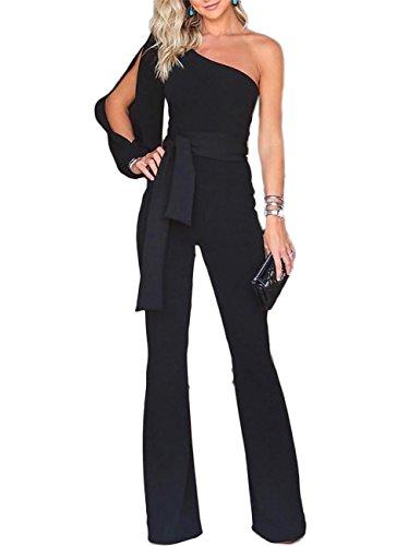 Boutiquefeel Damen Eine Schulter Slit Sleeve Breites Bein Hosen Jumpsuits Playsuits Schwarz M