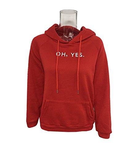 YPtong Donna Felpe con Cappuccio Casual Pullover Tinta Unita Moda Sweatshirt Manica Lunga Elegante Felpa Lettera Camicetta di Stampa Cappotti top Outerwear Rosso