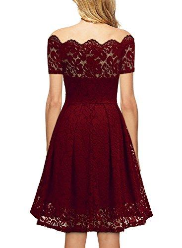 Miusol Damen Vintage 1950er Off Schulter Cocktailkleid Retro Spitzen Schwingen Pinup Rockabilly Kleid Rot Gr.XS-3XL H-Rot