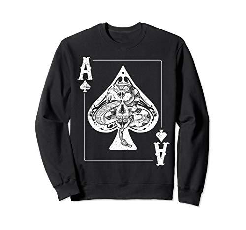 Roller High Kostüm - Skull and Snake Pik-As Poker Night Rocker-Geschenk Sweatshirt