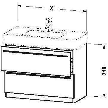 Duravit x-large Waschtisch Unterbau 800x 4702Schubladen Cappuccino -