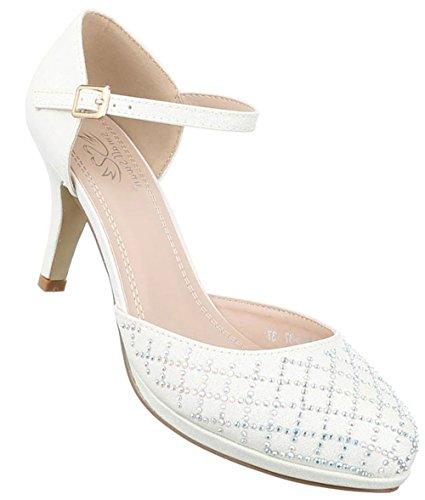 Damen Pumps Schuhe High Heels Stöckelschuhe Stiletto Weiß 36
