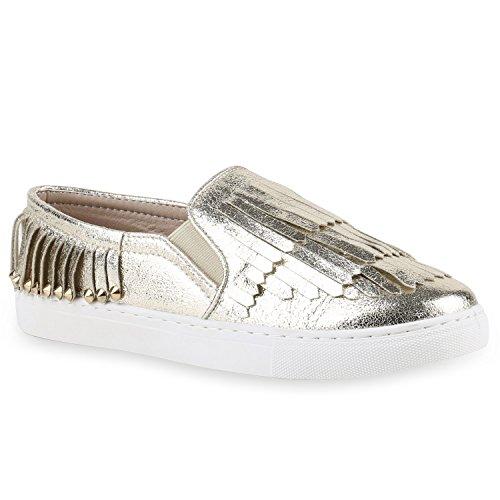 Damen Sneakers Slip-ons Lack Glitzer Metallic Slipper Schuhe Gold Nieten Fransen
