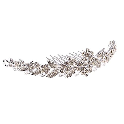 hzeit Krone Tiara Braut Kristall Strass Haarreifen (Silber) (Diadem Modeschmuck)