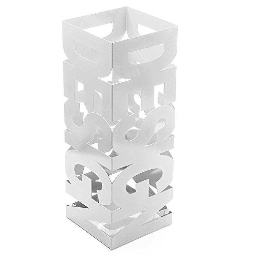 Bakaji portaombrelli stand in ferro design bak9w porta ombrelli forma quadrata colore bianco con decorazione intarsio scritta design vaschetta salvagoccia dimensioni 49 x 15,5 cm