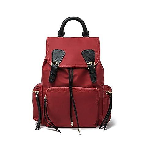 Sheli Sacs à dos en Nylon Rouge Sacs Scolaires pour Femmes pour Garçons Sac à Bandoulière pour Voyage pour Filles Sac de Randonnée étanche
