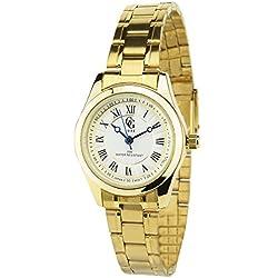 GG LUXE -Damen Armbanduhr Silber Quarz Gehäuse Stahl Analog Display Typ Water resist 30M-3ATM Armband Stahl Gold