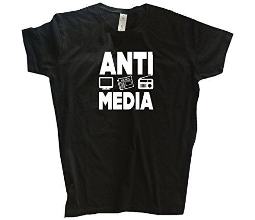 Lügenpresse Anti-Media tv fernsehen radio presse Girlie-Shirt Schwarz L