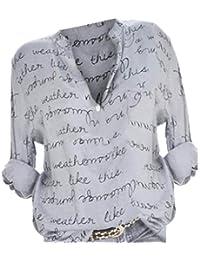 8d4b72a193f11 SANFASHION Chemis Femmes, Col V Button Haut Manches Longues Impression De  Lettre Tops Plus Size Pull…