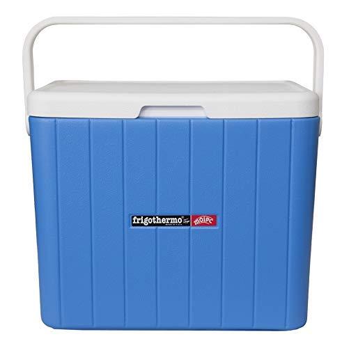 frigothermo Kühlbox 33 Liter groß eckig blau weiß passiv Kunststoff mit Tragegriff Ablassventil abnehmbarem Deckel bis 12 Stunden Kühlung Thermo-Behälter Cooler Getränkekühler Autokühlbox Kühltruhe