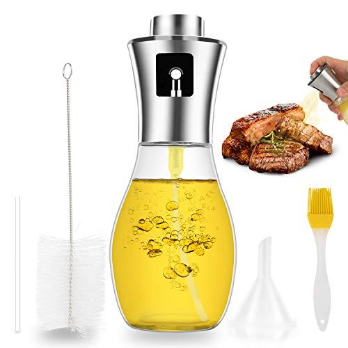 INVOKER Öl sprüher Flasche 200 ml,Olivenöl Sprühflasche Premium Essig/Öl spender aus Edelstahl und Glas,Verbessertes Oil Sprayer für BBQ Pasta Backen Kochen,BPA-Free and 100{1c8ace734187524dc23eabe26e87b1b169c4dc06637c36142449849ba6ce939d} Food Safetyüche Kochen
