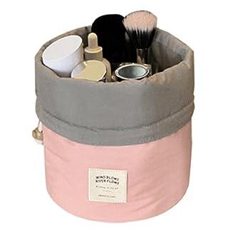 Aulei Runden Kulturbeutel Kordelzug Waschbeutel Make up kosmetische Reisetaschen Wash Bag Rosa