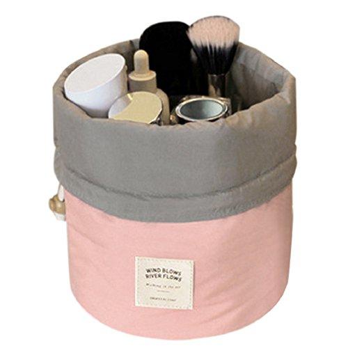 Aulei Runden Kulturbeutel Kordelzug Waschbeutel Make up kosmetische Reisetaschen Wash Bag Rosa (Make-up-beutel)