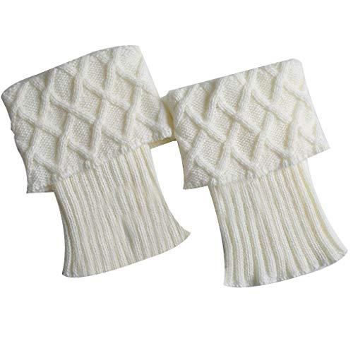 Meisijia 1 Paar Frauen-Winter Crochet Stiefel Stulpen Knit Toppers Stiefelsocken Beinwärmer Feste Beinlinge Mädchen-Dame -