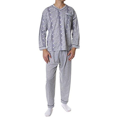 Herren Pyjama Schlafanzug Hausanzug 2 Teilig Set Langarm 21698, Farbe:Grau, Größe:3XL (Baumwoll-jersey-pyjama Set Aus)
