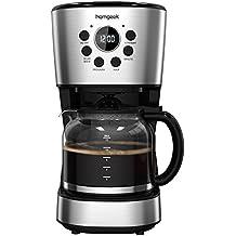 Homgeek Cafetera 12 Tazas, Café Maker con Apagado Automático, Placa Calentadora, Filtro Cafeteras con Temporizador, Jarra de Cristal, Filtro Permanente